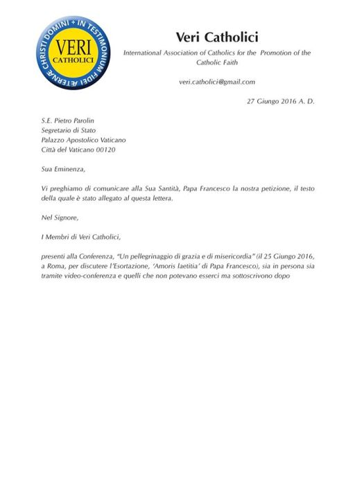 Cover Letter sent by courier to Cardinal Secretary of State, June 27, 2016, asking that our Petition be given personally to the Pope.