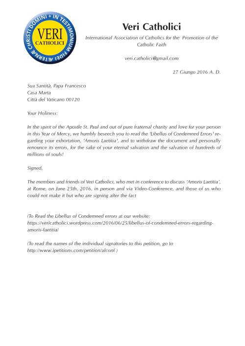 Petition to the Pope, as presented by courier to offices of Cardinal Secretary of State on June 27, 2016